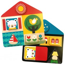 (Pre Order ) Petit Collage Day & Night Two-Sided Wood Tray Puzzle