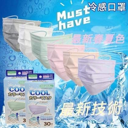 【Ready Stock 】日本口罩協會認可 BITOWAY 夏天專用冷感口罩(30個) 3Ply COOL MASK (30pcs)